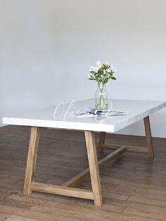 Dining Room Table, Dining Set, Mesa Exterior, Granite, Diy Table, Minimalist Home, Wood Design, Furniture Design, Meraki