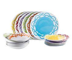 Vajilla de porcelana Arabesque, multicolor - 18 piezas