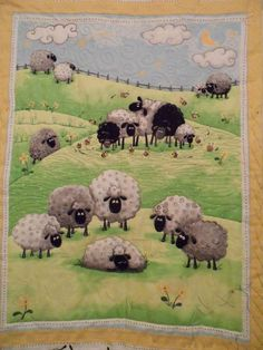 pt 2 Sheep baby quilt | Craftsy Quilt Baby, Wool Applique, Applique Quilts, Pach Aplique, Wooly Bully, Sheep Crafts, Sheep Art, Quilted Throw Blanket, Landscape Quilts