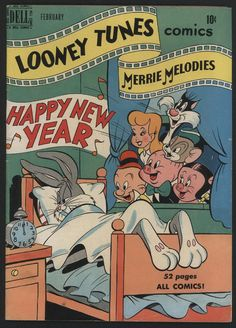 Cover for Looney Tunes and Merrie Melodies Comics (Dell, 1941 series) Vintage Disney Posters, Vintage Comic Books, Vintage Cartoon, Vintage Comics, Cartoon Posters, Retro Cartoons, Old Cartoons, 1950s Posters, Bedroom Wall Collage