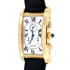 TANK AMERICAINE 1730 YELLOW GOLD Cartier, Watches, Yellow, Gold, Accessories, Clocks, Clock, Ornament