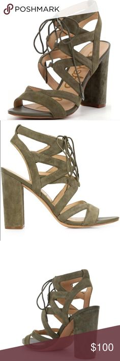 Sam Edelman Moss green Yardley Description A Sam Edelman Favorite. Sexy cutout lace-up sandals feature a stacked heel for day-to-night comfort. Wear the Yardley Lace-Up Heeled Sandal with distressed denim and a sharp blazer for Cali-inspired chic.                                  • Lace-Up Gladiator Heeled Sandal • Special Features: Cut-Out Leather • Closure: Lace-Up • Toe: Open • Heel Height: 4 inches Material: Kid Suede or Leather Insole: Synthetic Sam Edelman Shoes Sandals