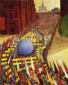 May Day Procession in Moscow - Diego Rivera  Art Experience NYC  www.artexperiencenyc.com