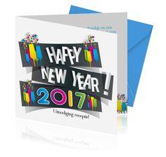 Kaarten voor de nieuwjaarsborrel maken. Een uitnodiging voor de nieuwjaarsreceptie. Happy New Year, Logos, Om, Logo, Happy New Year Wishes