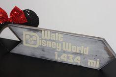 Landmark Distance Arrow Sign - This Many Miles to Disney World on Etsy, $35.00