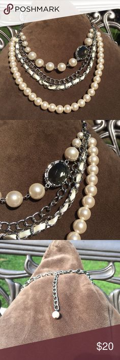 "WHBM faux pearl & links 4 strand necklace Beautiful necklace, 21"" long w/ 3"" extender. Can be worn shorter or longer as clasp fits links anywhere.  Exceptionally condition. I have way too much costume jewelry so accepting all reasonable offers! White House Black Market Jewelry Necklaces"