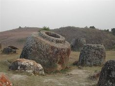 The Mysterious Plain of Jars: Thousands of giant stone jars scattered around the Xieng Khouang plain, in Laos form one of the most bizarre archeological collections in history. Although it has been determined they are over 2000 years old, no one has yet been able to determine who built them and for what purpose. Made of sedimentary rock, like sandstone or granite, and calcified coral, the jars weigh up to 13 tons and are between 1 and 3 meters high.