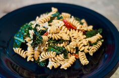 pasta with kale, sun-dried tomatoes, and goat cheese.