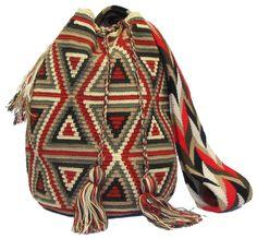 Red Brown Wayuu Mochila Bag - mochilas wayuu bags