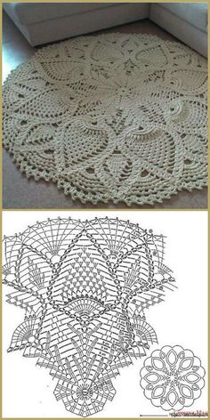 Crochet rug crochet carpet doily lace rug by eMDesignBoutique how to crochet shawl 1 This Pin was discovered by Moz Gorgeous Doesnt Look Like Patterns Crochet May The Miracle Oval Ma Rugs ndi crocheted: Maganizo a 25 + malingaliro opanga zinthu Filet Crochet, Crochet Doily Rug, Crochet Doily Diagram, Crochet Rug Patterns, Crochet Carpet, Crochet Tablecloth, Thread Crochet, Crochet Designs, Crochet Flowers