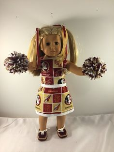 Doll Cheer Outfit;Doll Cheer Uniform;FSU;Florida State;College Football;Custom Doll Clothes;18 Inch Doll Clothes;Girls Christmas Gift by AllAboutThemDolls on Etsy