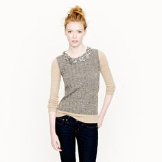 J. Crew Collection jeweled-collar sweater