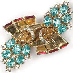 Coro Sterling Gold Aquamarine and Ruby Floral Swirl Duette