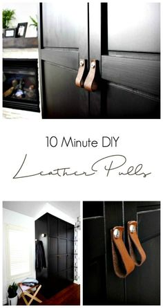 Simple custom leather pulls for your dresser, cabinets, or doors. A simple DIY can make a huge difference in to your decor. The perfect addition to our bedroom!