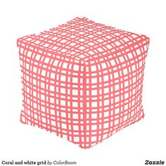Coral and white grid pouf Board Decoration, Green Cushions, Green Home Decor, Decorative Cushions, Grid, Art Pieces, Lime, Coral, Make It Yourself