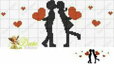 This Pin was discovered by Emi Wedding Cross Stitch, Cross Stitch Pictures, Cross Stitch Heart, Cross Stitch Cards, Cross Stitch Alphabet, Cross Stitching, Cross Stitch Embroidery, Cross Stitch Patterns, Graph Paper Art