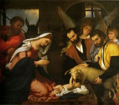 Lorenzo Lotto, Adorazione dei pastori, 1534 c, olio su tela, 147x166 cm | Pinacoteca Tosio Martinengo, Brescia