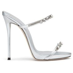 Giuseppe Zanotti Darsey Crystal ($475) ❤ liked on Polyvore featuring shoes, sandals, silver, high heeled footwear, iridescent shoes, crystal shoes, white strappy shoes and white strap shoes #giuseppezanottiheelssilver
