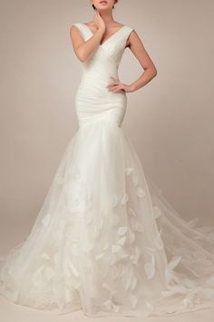 Organza Trumpet Wedding Dress With Straps Price : $599.99 Free Shipping!