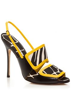 Manolo Blahnik Black & Yellow Slingback Sandal Spring Summer 2014 #Manolos #Shoes #Heels