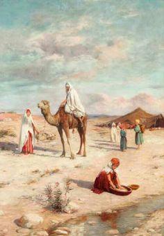 Peinture d'Algérie -Peintre Espagnol, José Alsina(1850 - 1925), huile sur toile, Titre : Le campement.