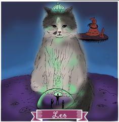 Leo, Signos del Zodiaco, dibujo, ilustración, cat, Oyarce