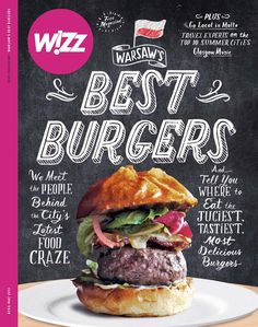 """Wizz - """"Best Burgers"""" I've seen this exact cover design straightup like 20 times, and it's extremely played out, but I thought the purple bar and logo added an interesting dimension that was worth bookmarking Food Graphic Design, Food Poster Design, Web Design, Graphic Design Inspiration, Type Design, Menue Design, Burger Restaurant, Burger Menu, Design Editorial"""