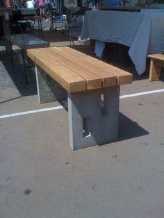 Reclaimed Oak Bench With Concrete Legs