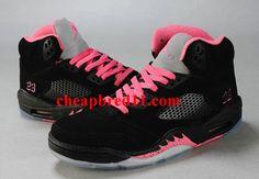 b79119bc143c95 Womens Air Jordan 5 Black Pink Silver Nike Shoes Cheap