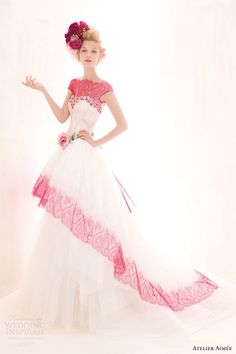 atelier aimee color wedding dresses 2014 luna cap sleeve lace top Luna strapless gown with fuchsia lace accent, shown with cap sleeve lace top.