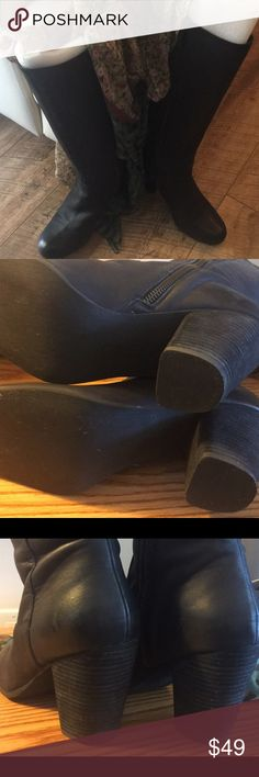 Black dress boots These real leather, to under knee, boots are a non-name brand, bought at Neiman Marcus. Fleece heal 3 3/4 in. @ highest point, Shaft 16 1/4 in. top calf circumference aprox. 14 1/2 in. They've only been worn once! I found ones that I like better, and these need a new home. (SCARF NOT FOR SALE foam inserts for keeping of there shape.) Neiman Marcus Shoes Heeled Boots