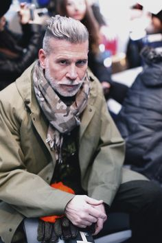 Nick Wooster camo scarf men style If it wasn't for the detail in the hair and facial hair, this whole outfit wouldn't look far off from tacky, but it's the details that make almost any outfit stylish Nick Wooster, Professional Beard Styles, Camo Scarf, Grey Beards, Comme Des Garcons, Hair And Beard Styles, Gentleman Style, At Least, Menswear