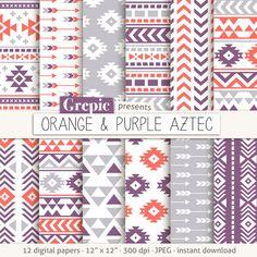 Orange & purple Aztec digital paper by Strawberry Scraps Tribal Patterns, Textile Patterns, Textile Design, Tribal Background, Motifs Aztèques, Digital Paper Free, Digital Papers, Triangles, Pink Paper