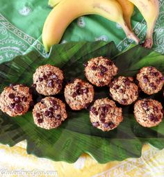 GF Banana Oat Choco Chippo Mini Muffins ~ few ingredients, nutritious and a kid favorite! Great for busy mornings or snack time.