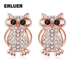 ERLUER Fashion Rose Gold Color Owl Stud Earrings For Women Girls Ladies Gift brincos Austrian Crystal Rhinestone Earring Jewelry #Affiliate