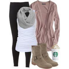 """Cozy coffee run leggings and long sweater""  cardigan, scarf, long tank, leggings, Starbucks (of course!)"
