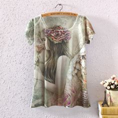 VINTAGE SUMMER WOMEN SHORT SLEEVE FLORAL GRAPHIC PRINTED T SHIRT TEE BLOUSE TOPS
