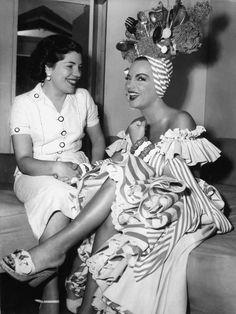 Carmen Miranda on the set of Scared Stiff, 1953
