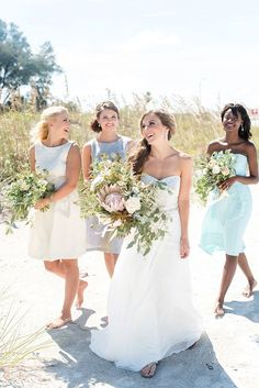 A preppy pastel nautical wedding shoot with a sea glass inspired palette perfect for a coastal wedding! with gorgeous styling by Aisle Society for Dessy! Beach Wedding Bridesmaids, Mismatched Bridesmaid Dresses, Wedding Dresses, Beach Weddings, Maxi Dresses, Pastel Weddings, Outdoor Weddings, Sleeve Dresses, Bridal Gowns