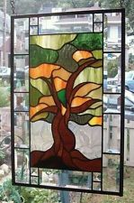 **AUTUMNAL TREE OF LIFE** Stained Glass Window Panel (Signed and Dated)