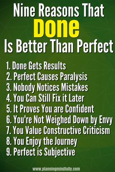 You want to finish your work but perfectionism drags you down. Overcoming perfectionism is hard! Learn nine reasons why getting your tasks done is better than perfect. Improve your mental health with a productivity mindset. Self Development, Personal Development, Improve Productivity, How To Stop Procrastinating, Time Management Tips, Working Moms, Motivation, Getting Things Done, Life Lessons