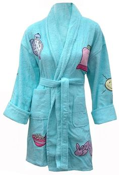 1ecc684e89 Rise   Shine Appliqued Cotton Terry Cloth Bathrobe