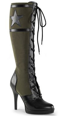 4.5 inch heel Front lace-up military inspired boot with star and stripes detail Full length inside zip closure for easy on/off Not real leather [[starttab]] Shoe Sizing Chart Order your USA size USA S
