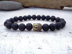 Buddha bracelet Lava bracelet Men bracelet Mens by SoCutiful