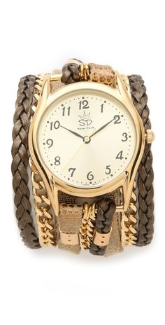 Sara Designs Print Leather and Chain Wrap Watch