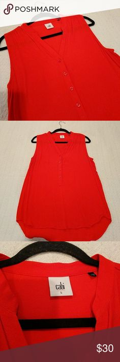 CAbi Red Plaza Top Style #5113 Cute red button up top. Longer in back. Style 5123. 100% rayon. Great with jeans or slacks. Worn twice. CAbi Tops Blouses