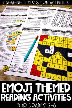 These emoji themed reading activities are perfect for distance learning, e-learning and/or homeschool! This reading comprehension resource is no prep, print and go and helps upper elementary students practice their close reading skills. Includes 3 Engaging and high interest passages about emoji, mystery picture, graphic organizer, writing prompts & more!!
