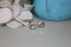 Crystal White Patina Rivoli Post Earrings by MyLittleLovesShoppe