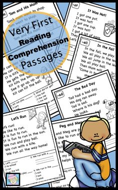 This reading comprehension set includes 50 passages for beginning readers. The passage on each page focuses on a short vowel word family.Each reading comprehension passage focuses on short vowel words and beginning sight words. Repetitive text is included as practice for young readers. Four comprehension questions follow each passage. One question on each page requires a simple, one- word, written response. $ Kindergarten Language Arts, Kindergarten Literacy, Reading Comprehension Passages, Comprehension Questions, Have Fun Teaching, Teaching Ideas, Reading For Beginners, Grade Books, Struggling Readers