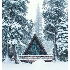 Snow falls on an A-frame cabin in the woods. I can find no information about this cabin other than it is in Donner Lake, California. And the supposed original photographer doesn't have any extra photos of it. A Frame Cabin, A Frame House, Winter Cabin, Cozy Cabin, Snow Cabin, Winter Snow, Forest Cabin, Snowy Forest, Forest Mountain
